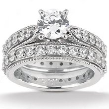 1.70 ct. diamonds engagement ring band set gold new