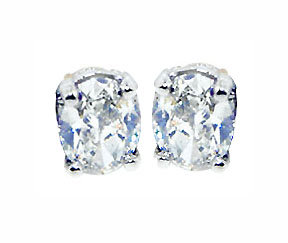 NEW OVAL CUT diamond studs earring G SI1 Platinum