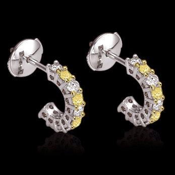 2 ct. yellow canary diamonds La poussette backs earring