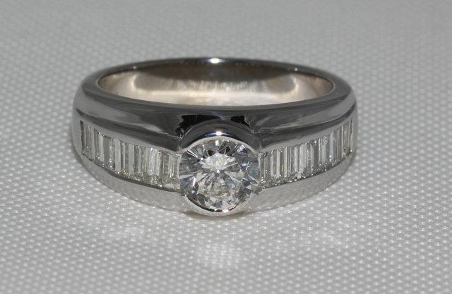 2 carat diamonds engagement ring men's band white gold