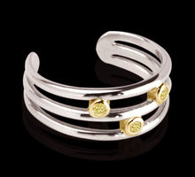 bangle cuff bracelet yellow canary diamonds 2.10 carats