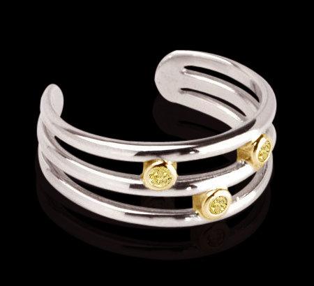 bangle cuff bracelet yellow canary diamonds 2.10 carats