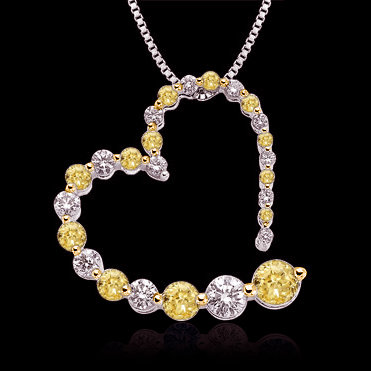 Certified yellow diamonds 3 ct. journey pendant heart