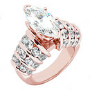 2.5 ct. diamonds marquise cut engagement ring pink gold