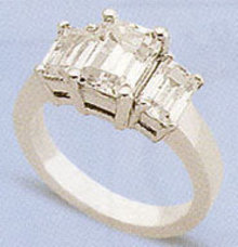 2.01 carats G SI1 Diamond three stone ring emerald cut