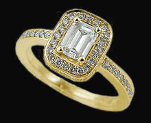 2 carats diamonds emerald cut engagement ring gold new