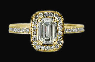 2 carats diamonds emerald cut engagement ring gold new