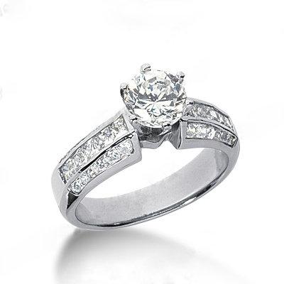 Diamonds engagement ring 2 carats diamonds ring gold
