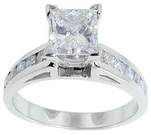 1.75 carat DIAMOND PRINCESS CUT antique look ring gold