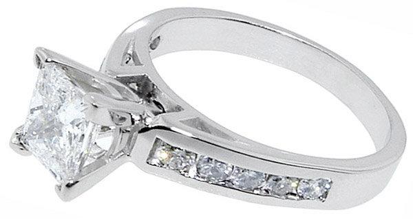1.75 carat DIAMOND PRINCESS CUT antique look ring gold