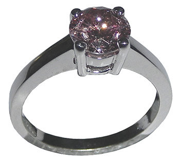 1.25 carats round pink diamond ring solitaire jewelry