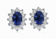3.5 ct. Oval blue diamond stud earrings pair gold new