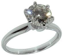 1.25 carat F VS1 two tone diamond engagement ring prong