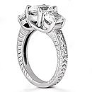 F VS1 diamonds three stone wedding ring 2.31 ct diamond