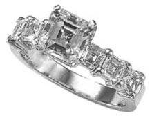 1.61 carat asscher cut DIAMOND PLATINUM engagement ring
