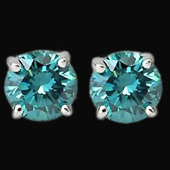 3 carat blue diamonds earrings stud ear ring white gold