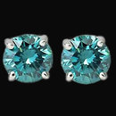 3 carat blue diamonds earrings stud ear ring white gold