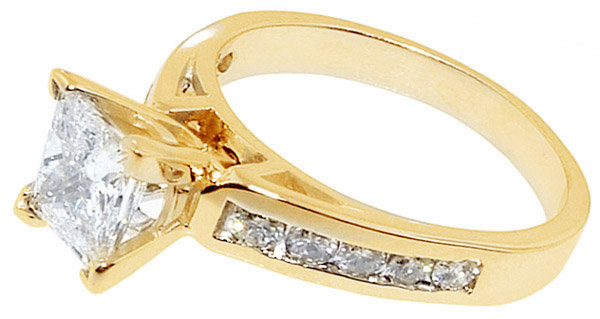 1.75 Ct. princess cut diamond ring yellow gold new ring
