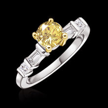 1.61 ct. fancy yellow diamonds engagement ring gold new
