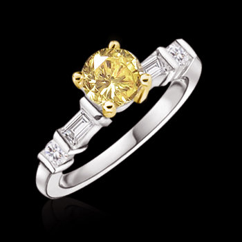 1.61 ct. fancy yellow diamonds engagement ring gold new