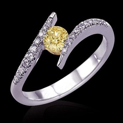 Yellow canary & white diamonds 2.01 ct. engagement ring