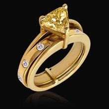 1.75 Ct. Trillion cut fancy yellow diamonds ring gold