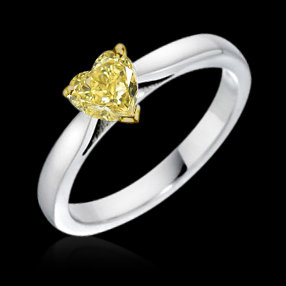Heart cut yellow canary diamond 1 carat solitaire ring