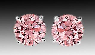 2.51 Carats diamond stud earrings round pink diamond