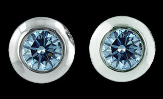 2.51 Carats diamond stud earrings round blue diamond