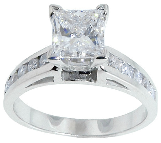2.01 carat DIAMOND PRINCESS CUT antique look ring gold