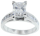 2.01 carat DIAMOND PRINCESS CUT antique look ring gold