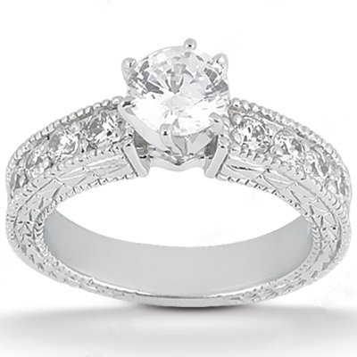 2 carats diamonds engagement ring wedding band set gold