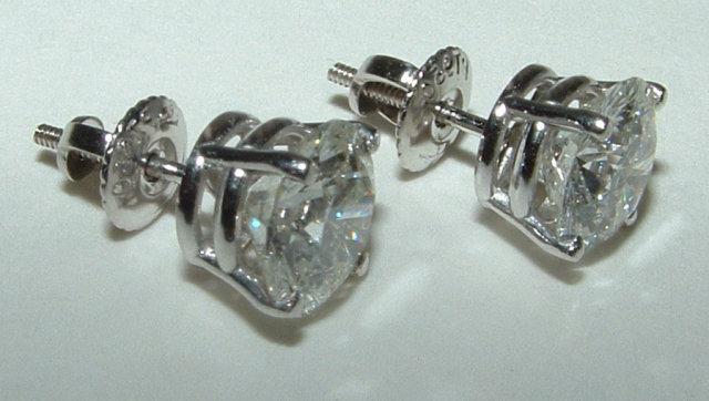 2.5 carat diamond stud post earrings F SI1 diamond stud