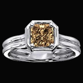 1.50 Ct. champagne diamond engagement ring band set