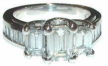 3 carat diamond ring gold emerald cut antique style