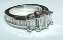 3 carat diamond ring gold emerald cut antique style