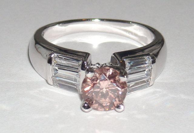 2.11 carats baguette PINK DIAMOND ring solitaire fancy