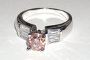 2.11 carats baguette PINK DIAMOND ring solitaire fancy