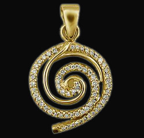 6 Ct. diamonds pendant necklace yellow gold with chain