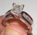 2.35 carat DIAMOND antique look ring PRINCESS Platinum