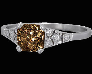 2 Ct. champagne & white diamonds engagement ring gold
