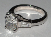 2.01 carats oval diamond three 3 stone ring PLATINUM