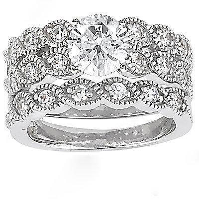 2.11 Ct. Diamond wedding ring band set white gold new