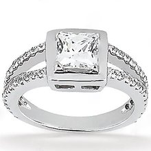 2 Ct. princess cut DIAMOND ENGAGEMENT ring gold new