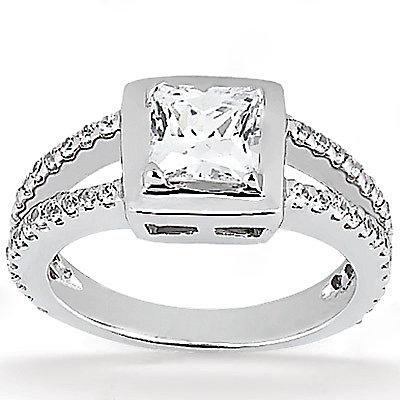 2 Ct. princess cut DIAMOND ENGAGEMENT ring gold new