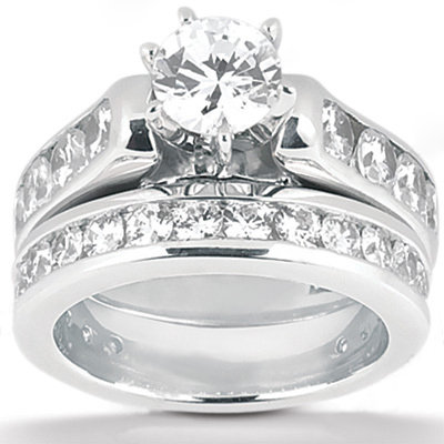 2.65 Ct. engagement set diamonds F VVS1 white gold ring