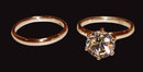 1.51 carat champagne diamond jewelry ring set pink gold