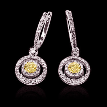 3.5 ct. yellow canary diamonds chandelier earrings gold