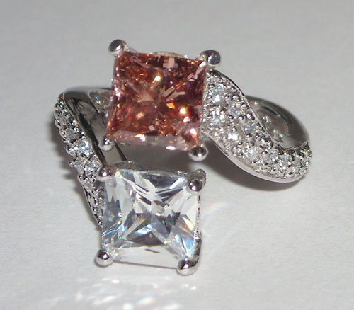 2.77 carat PRINCESS PINK DIAMOND ring twin double fancy