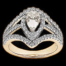 2.25 Cts. Diamonds pear cut engagement ring yellow gold